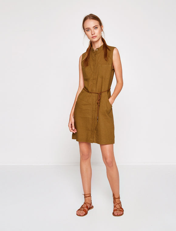 1212064 Khaki Sleeveless Linen Dress