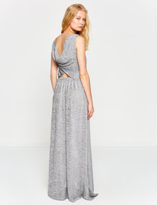 1312005 Grey Open Back Long Dress
