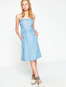 1212031 Blue Embroidered Strap Dress