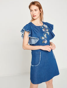 1212029 Blue Denim Ruffle Dress