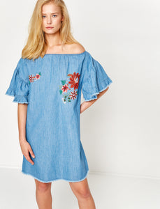1212027 Blue Denim Embroidered Ruffle Dress