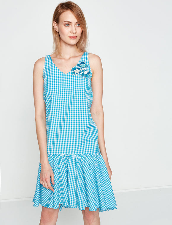 4512015 Blue Check Sleeveless Dress