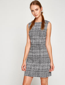 4512002 Black Check Pencil Dress
