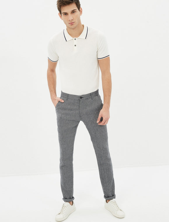 3110107 Linen Pocket Detailed Trousers