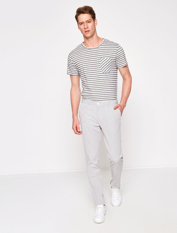 3110067 Medium Rise Striped Trousers