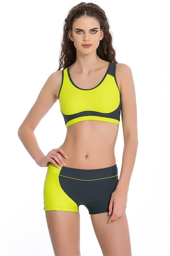 15903 yellow grey shorts tankini set