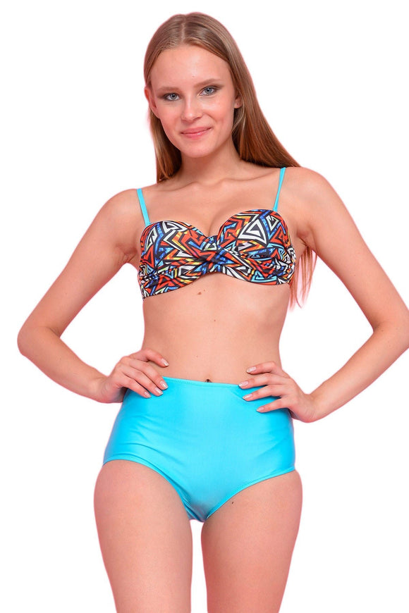 15904 multi colour high waist bikini suit