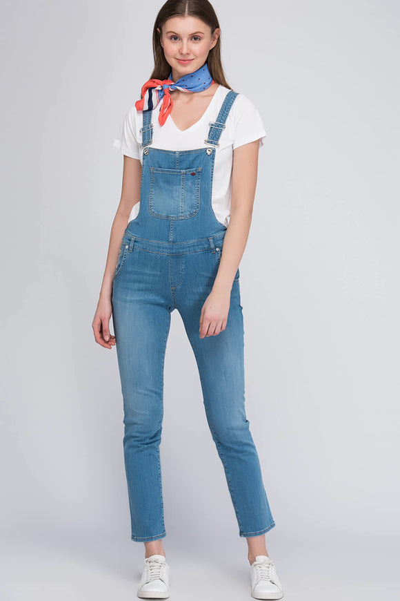 2593 Blue Denim Cropped Jumpsuit