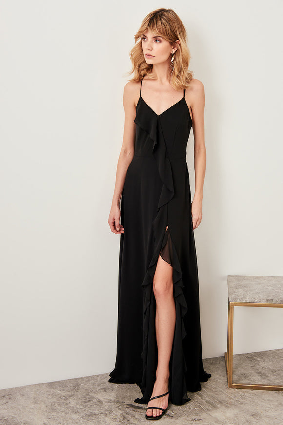 2545 Black Ruffle Slit Dress