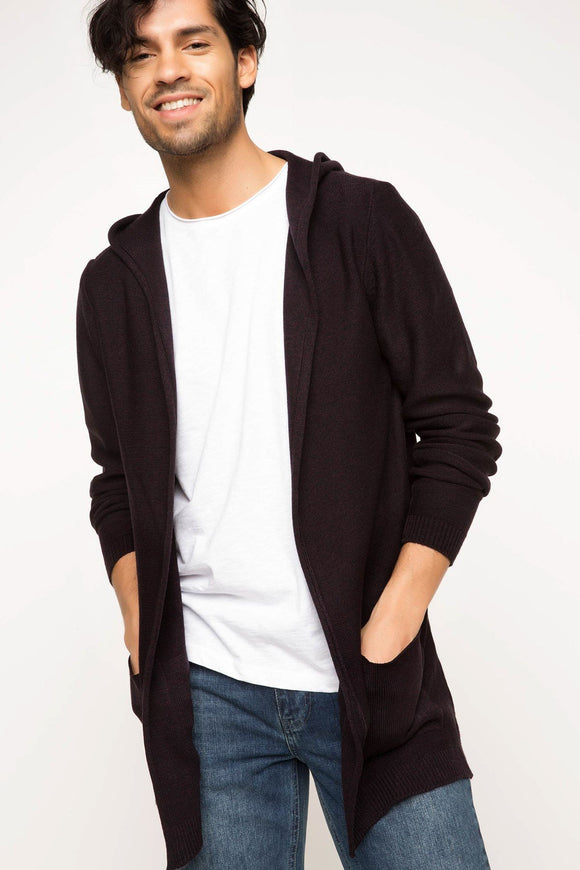 5112071 Purple Hooded Cardigan