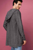 5112045 Grey Hooded Long Cardigan