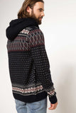 5112069 Navy Blue Patterned Hooded Cardigan