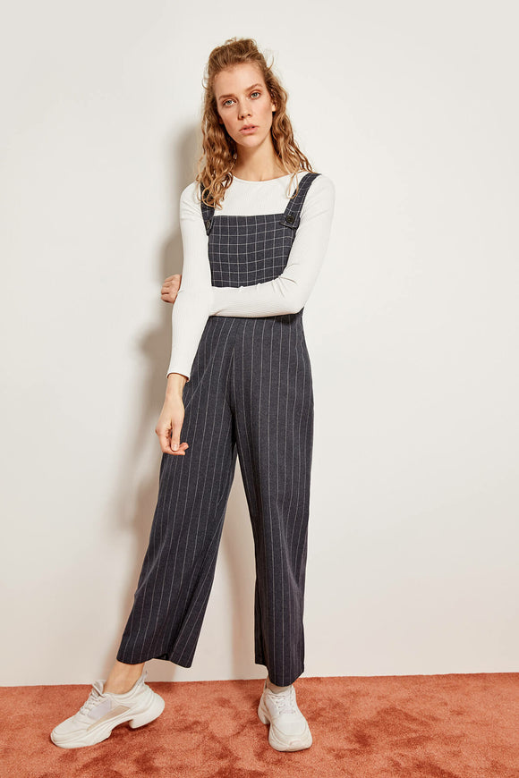 2604 Grey Striped Jumpsuit