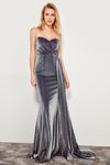 1295 Silver Drape Strapless Evening Dress