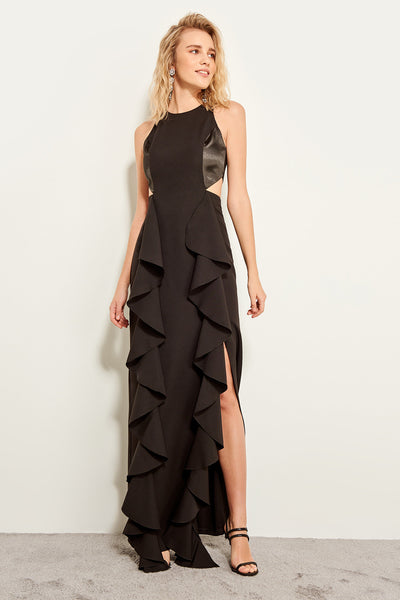 1305 Black Cutout Ruffle Slit Evening Dress