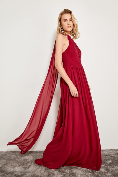 1302 Red-Pink Cloak Evening Dress