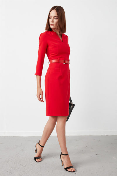4511511 Red Belt Sheath Dress