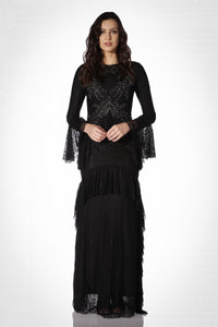 4870 Black Tiered Lace Evening Dress