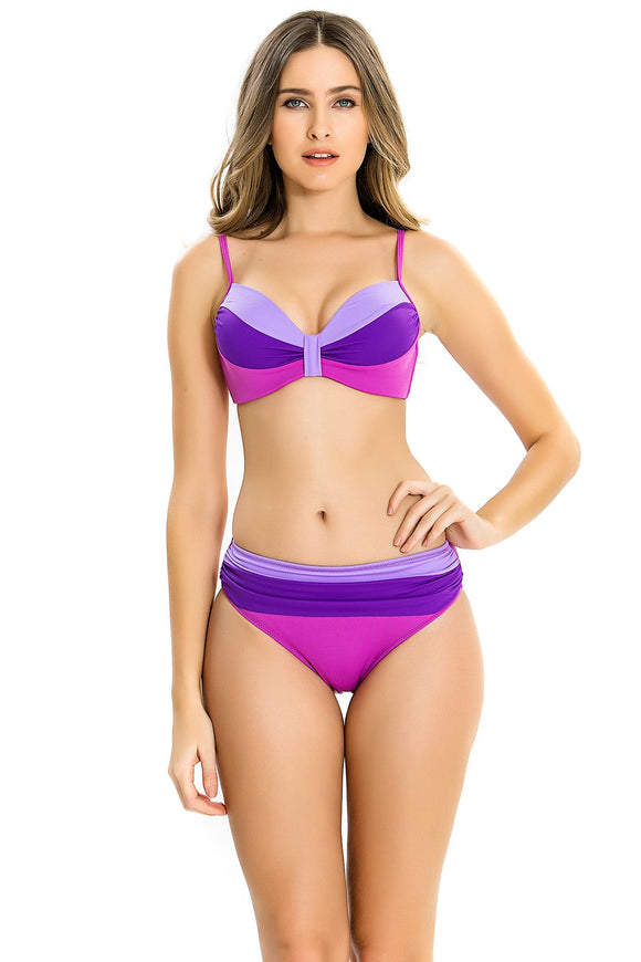 15896 purple pink colour block bikini set