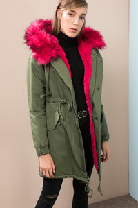 3550222 Green-Pink Hooded Fur Coat