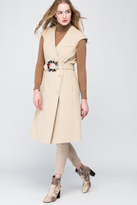 3510280 Camel Belt Sleeveless Coat