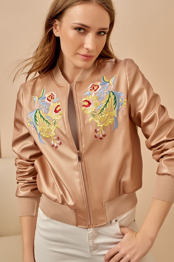 3510283 Brown Copper PU Bomber Jacket