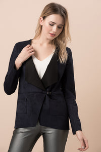3510272 Navy Blue Suede Jacket