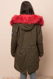 3550220 Green-Red Military Coat