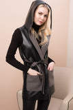 3510265 Black-Grey Faux Leather Hooded Vest