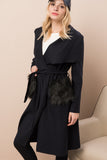 3550209 Navy Blue Pocket Fur Coat