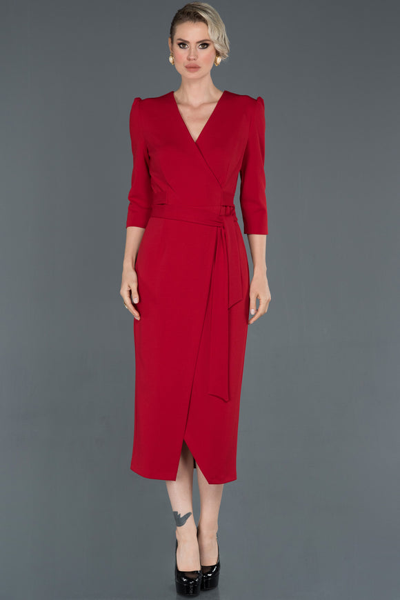 Red Double Breasted Collar Self- Midi Length Dress ABO047
