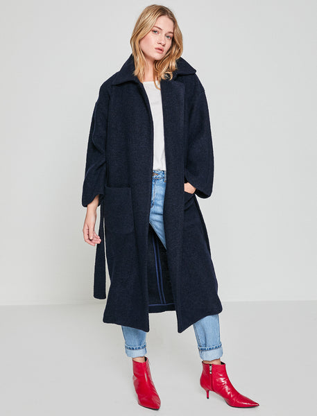 3530235 Navy Blue Midi Wool Coat