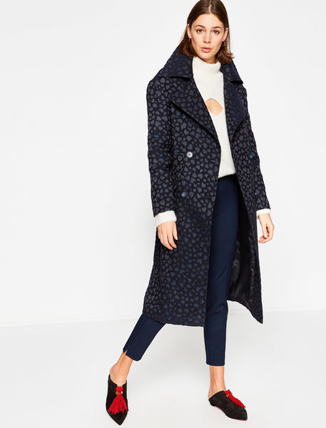 3530133 Navy Patterned Coat