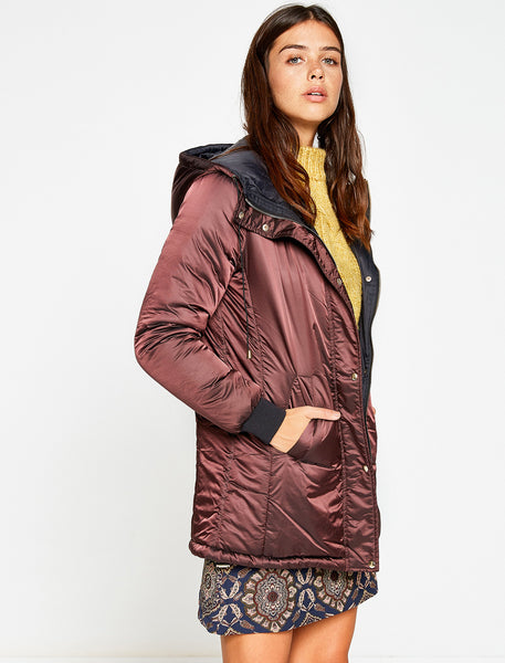 3530145 Wine Hooded Puffer Coat