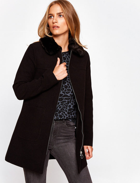 3530156 Black Faux Fur Collar Coat