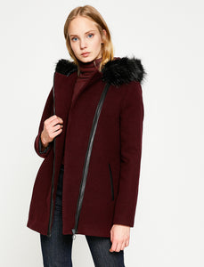 3530193 Wine Faux Fur Collar Coat