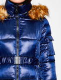 3530201 Navy Faux Fur Hooded Coat