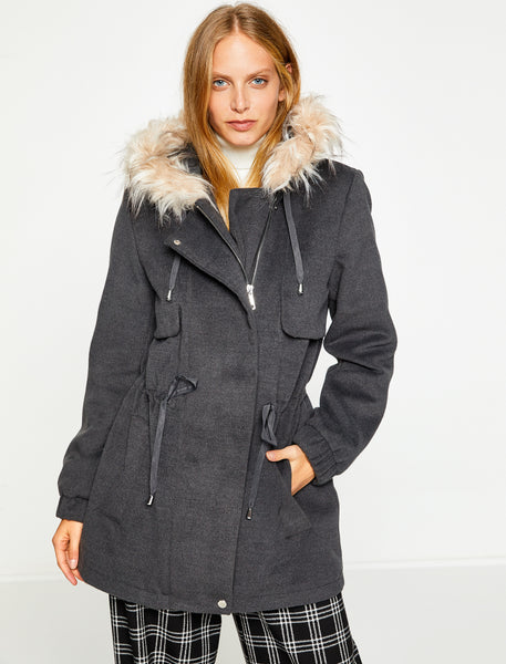3530202 Anthracite Faux Fur Hooded Coat