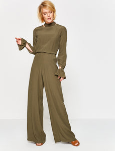 5210047 Khaki Wide Leg Jumpsuit