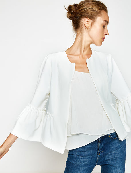 3540059 White Ruffle Sleeve Jacket