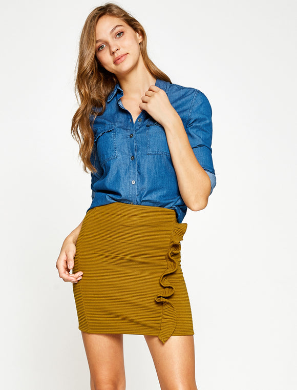 2912280 Green Ruffe Mini Skirt