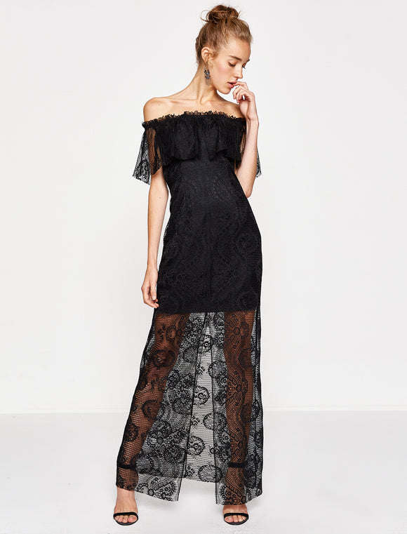 1312027 Black Lace Dress