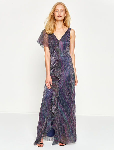 1312014 Purple Frill Maxi Dress