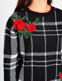 5011150 Black Check Embellished Jumper
