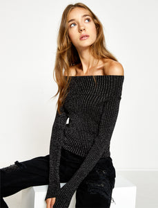 5011014 Black Shimmer Off-Shoulder Jumper