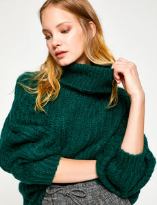 5011291 Green Knitted Turtle Neck Jumper