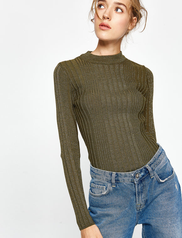 5011076 Khaki Crew Neck Jumper