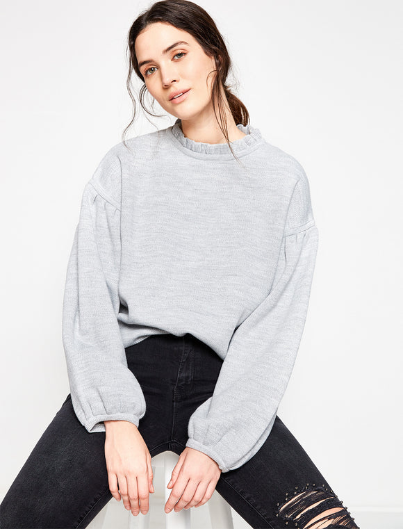 5011348 Grey Neck Detailed Jumper