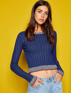 5011354 Navy Blue Cropped Jumper
