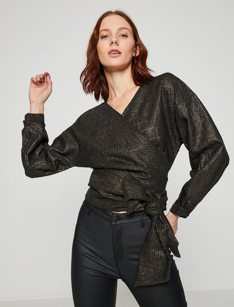 3050281 Gold-Black Tiew Waist Wrap Blouse
